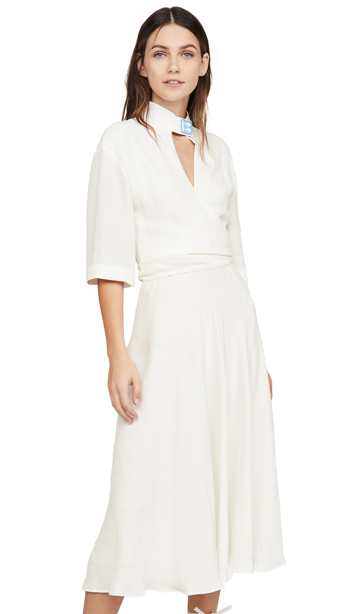 Off-White Crepe Romantic Dress - 60% Off Sale