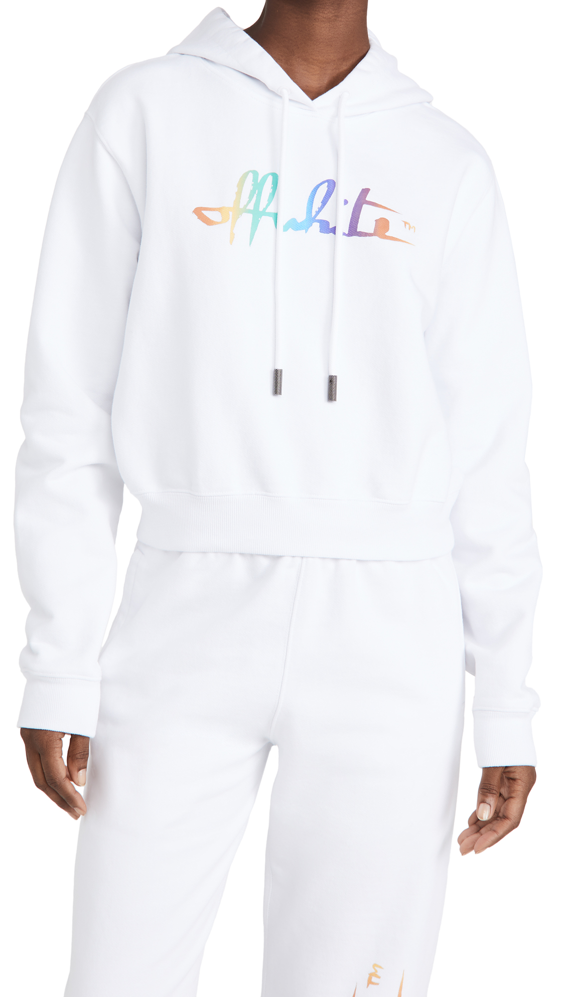 OFF-WHITE RAINBOW OFF WHITE CROP HOODIE