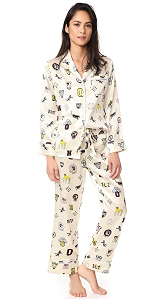Olivia von Halle Lila Crystal PJ Set In Cream Print