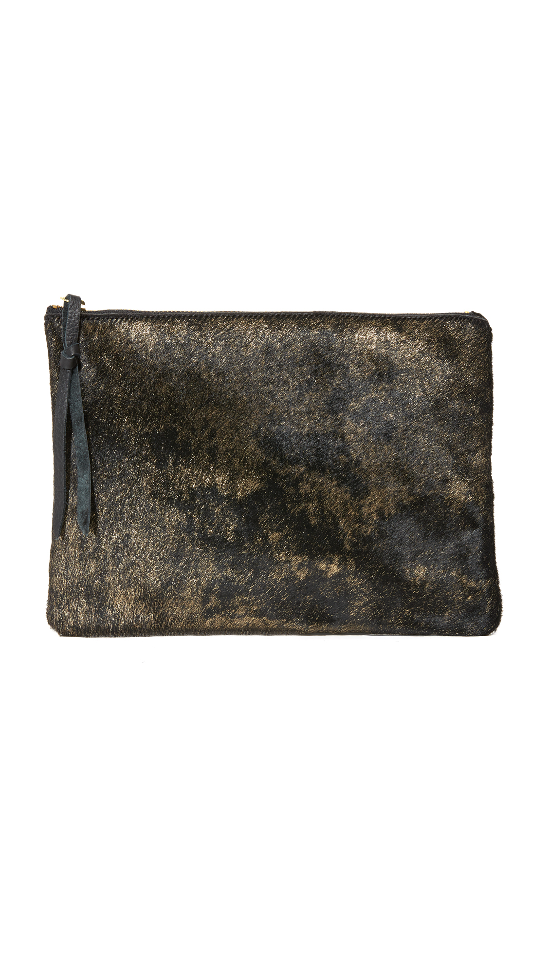 A simple Oliveve pouch, rendered in luxe haircalf. The top zip opens to a lined interior compartment. Fur: Dyed haircalf (cow), from Italy. Weight: 8oz / 0.23kg. Made in the USA. Measurements Height: 7.75in / 20cm Length: 10.75in / 27