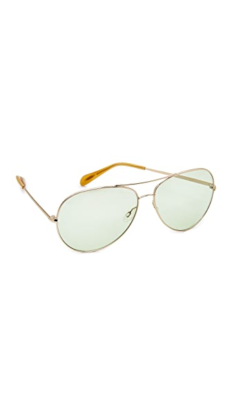 Oliver Peoples Eyewear Sayer Aviator Sunglasses - Gold/Green Wash