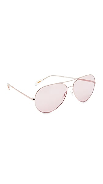 Oliver Peoples Eyewear Sayer Aviator Sunglasses - Rose Gold/Pink Wash