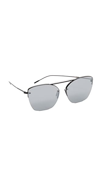 Oliver Peoples Eyewear 30th Anniversary Zaine Mirrored Sunglasses - Matte Black/Satin