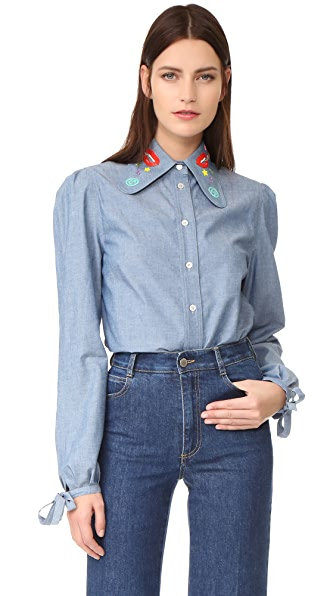 Olympia Le-Tan Sliver Haze Button Down Blouse In Blue