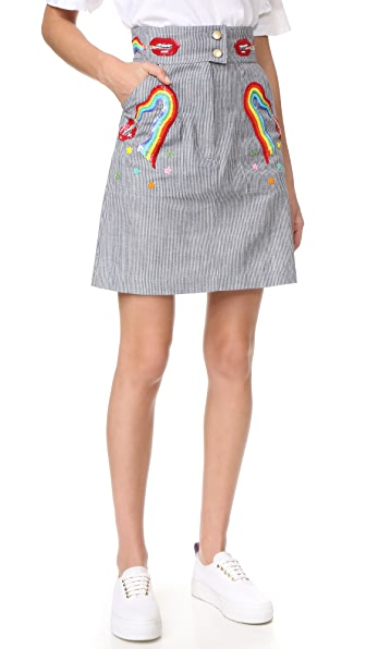 Olympia Le-Tan Early Pearl Skirt - Blue