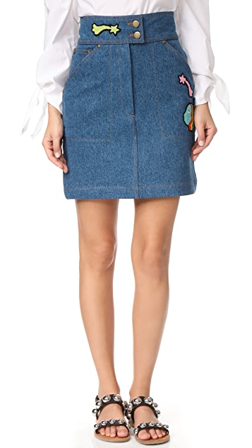 Olympia Le-Tan Early Pearl Patches Skirt