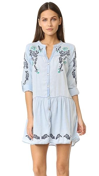 OndadeMar Embroidered Short Dress - Blue