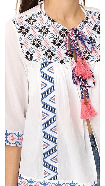 OndadeMar Embroidered Open Tunic