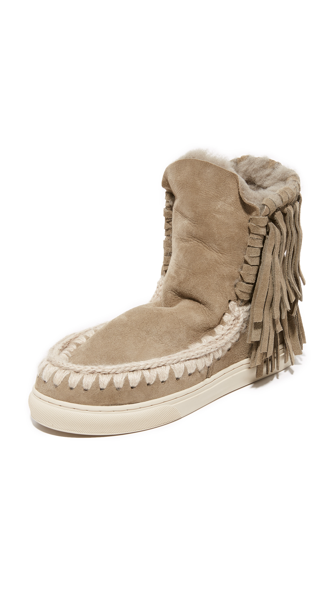 one by mou female one by mou eskimo sneaker fringe booties cor