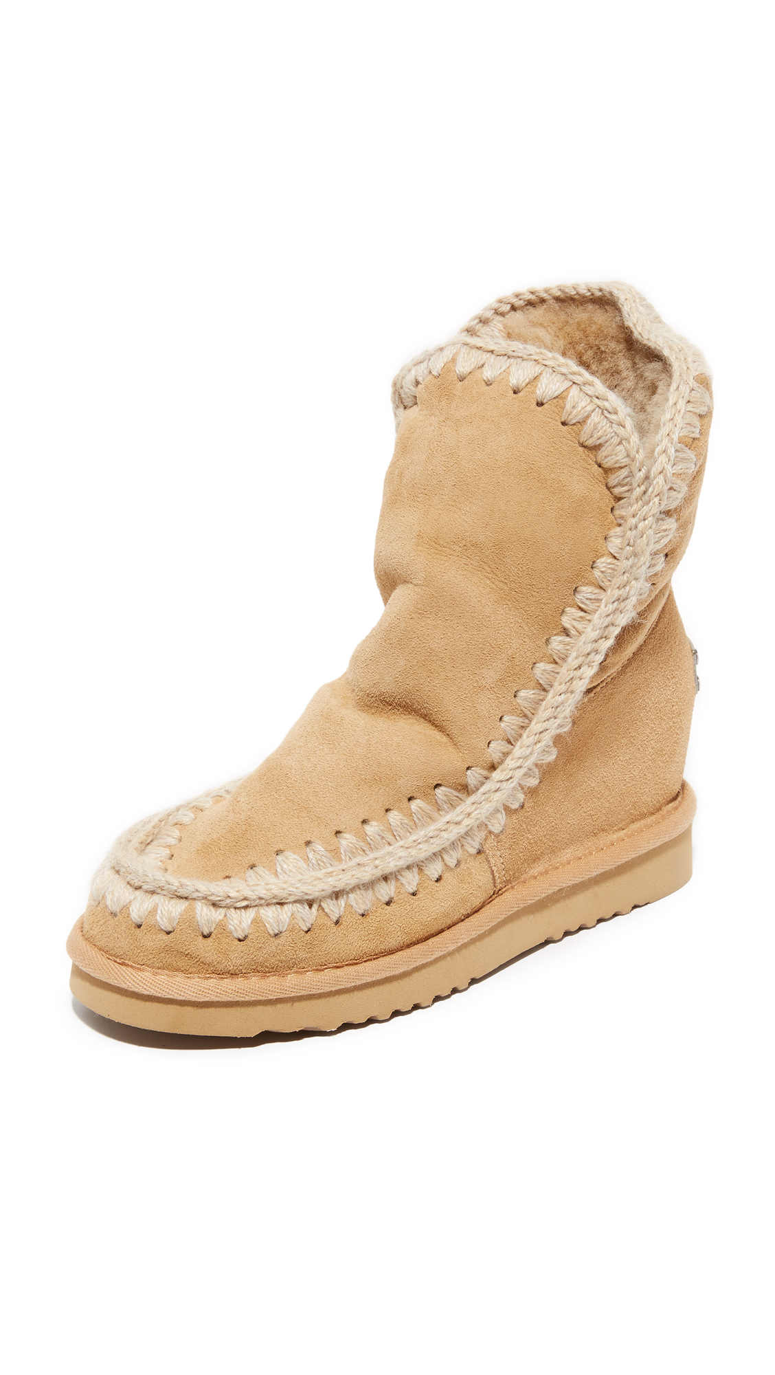 One By Mou Eskimo Inner Wedge Boots - Tan