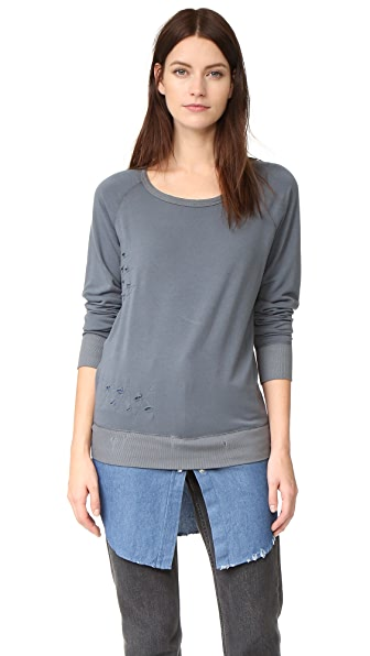 ONE by The Nu Vintage Destructed Sweatshirt with Flannel Layer - Grey/Denim