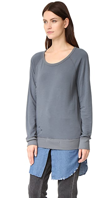 ONE by The Nu Vintage Destructed Sweatshirt with Flannel Layer