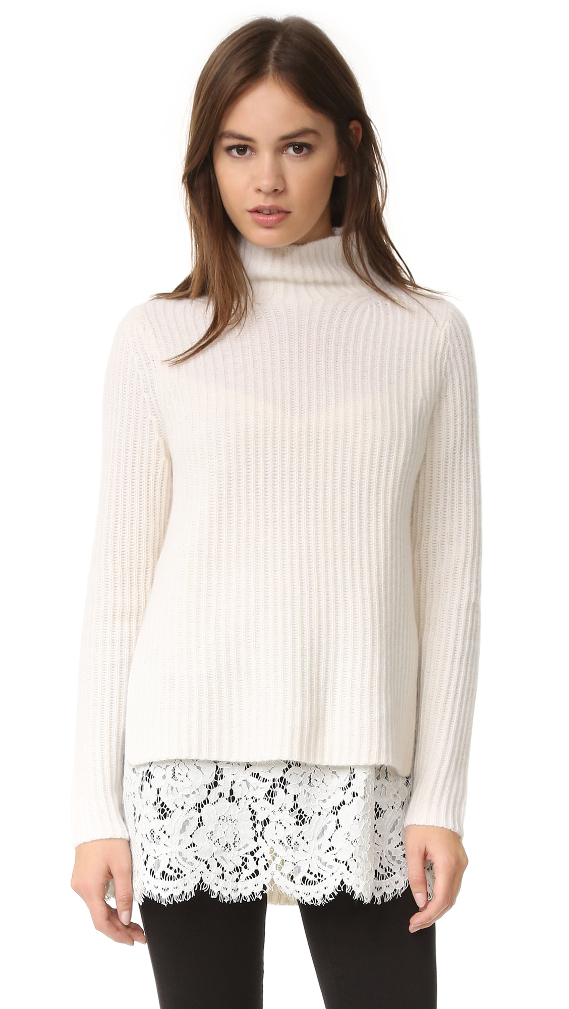 089e1b971a210c ONE by Sienna Zac Cashmere Sweater with Lace Layer