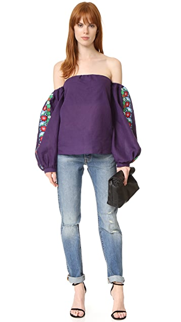 ONE by LAZULI Embroidered Off the Shoulder Top