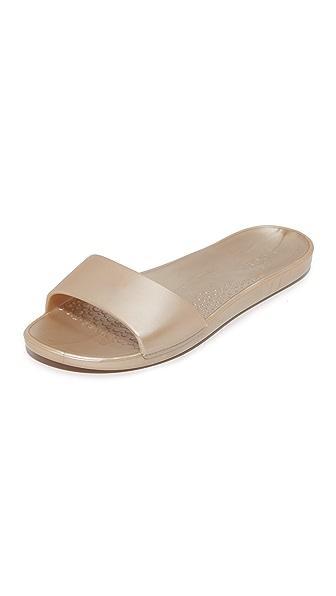 ONE by SOAK Metallic Slide Sandals - Metallic Gold