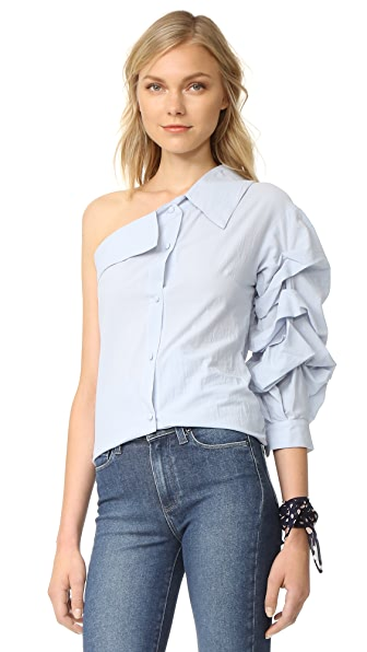 ONE by STYLEKEEPERS One Shoulder Shirt - Blue