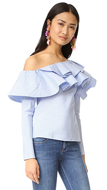 ONE by STYLEKEEPERS Ruffle One Shoulder Top
