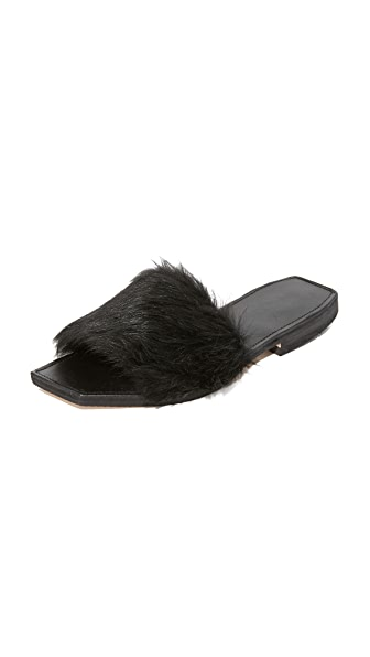 ONE by Parme Marin Faux Fur Slides - Black