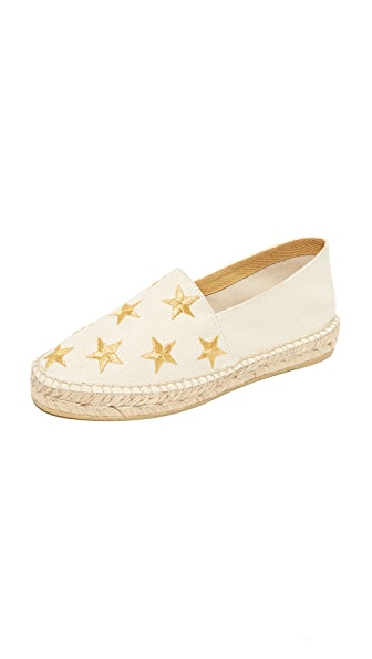 ONE by South Parade Footwear Star Embroidered Espadrilles - Beige/Gold