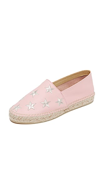 ONE by South Parade Footwear Star Embroidered Leather Espadrilles - Pink/Silver