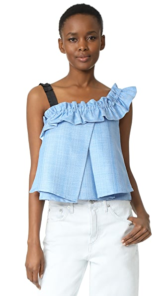 ONE by UnitedWood Tao Cropped Asymmetrical Ruffled Top - Sky Blue
