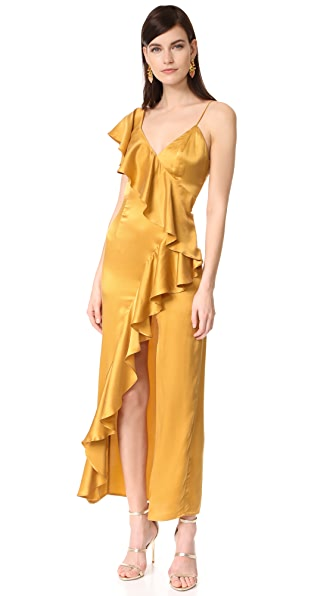 ONE by New Friends Colony Evita Cascade Ruffle Dress - Gold