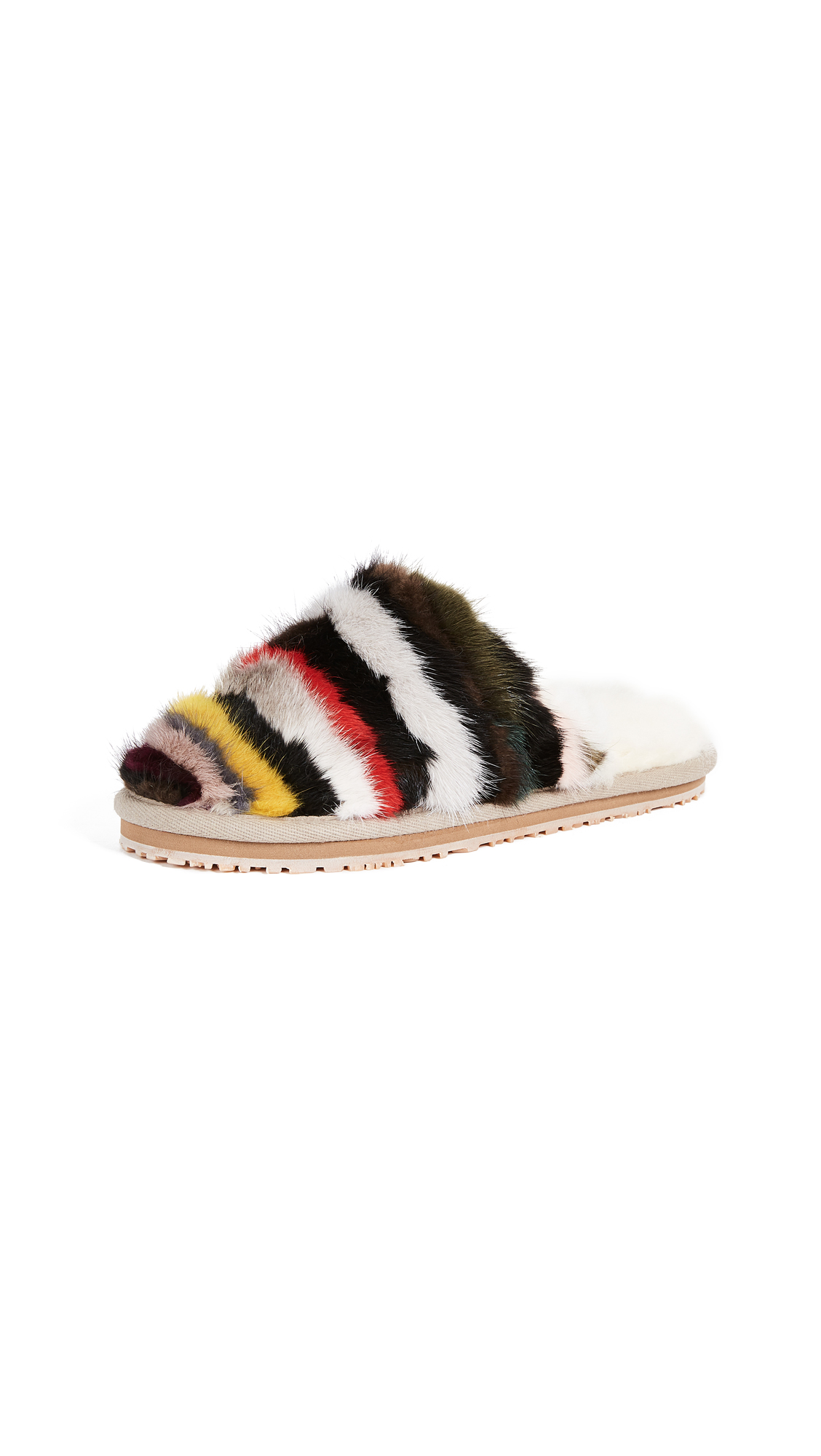 ONE by Mink Stripey Slippers - Multi