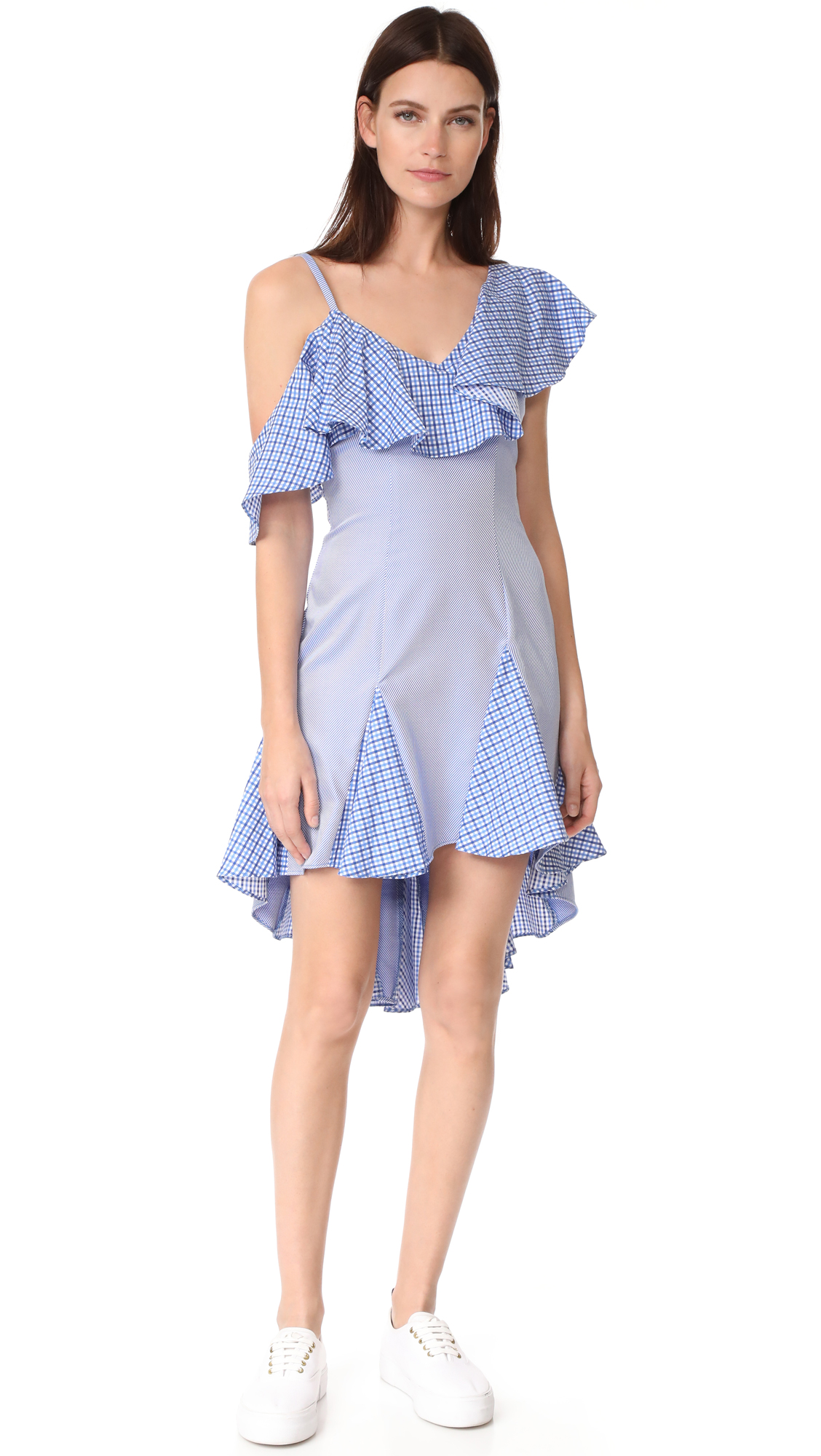 ONE by Daria Off Shoulder Ruffle Dress - Navy/White