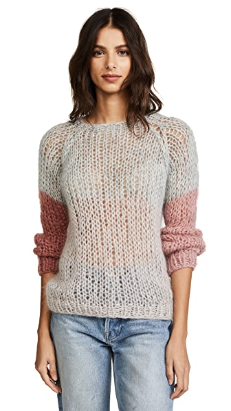 ONE by Maiami Colorblock Sweater In Rose Variation