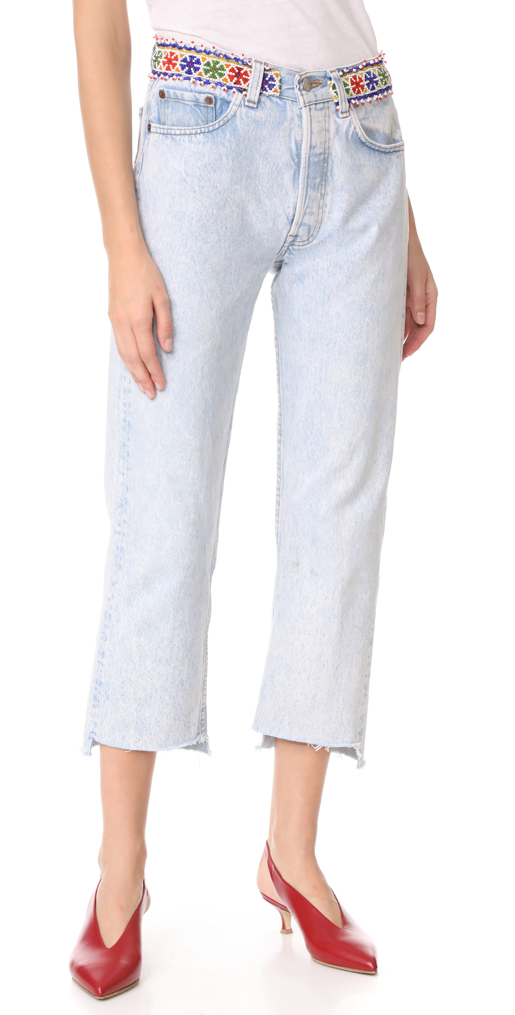 Denim Jeans With Beaded Belt ONE by Tricia Fix