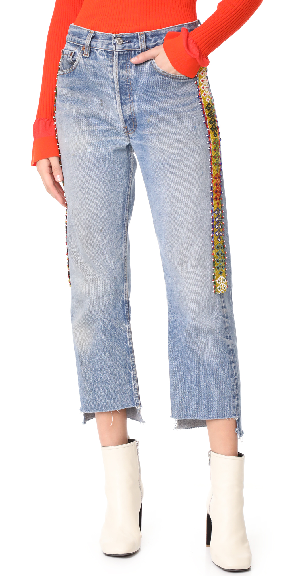 Denim Jeans with Side Beading ONE by Tricia Fix