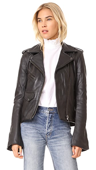 ONE by Understated Leather Moto Jacket In Black