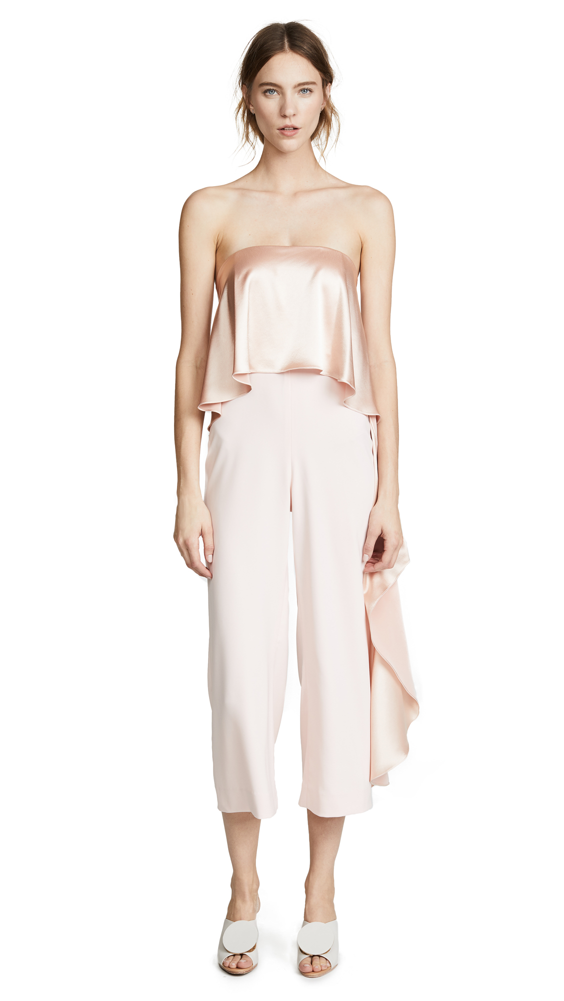 One By Jacqueline Cropped Jumpsuit With Ruffle, Millennial Pink