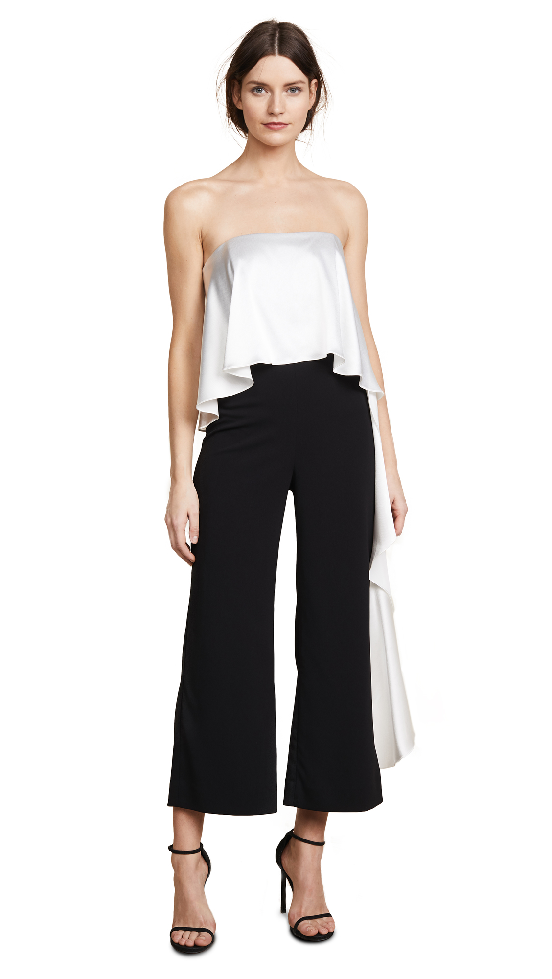 ONE BY JACQUELINE CROPPED RUFFLE JUMPSUIT