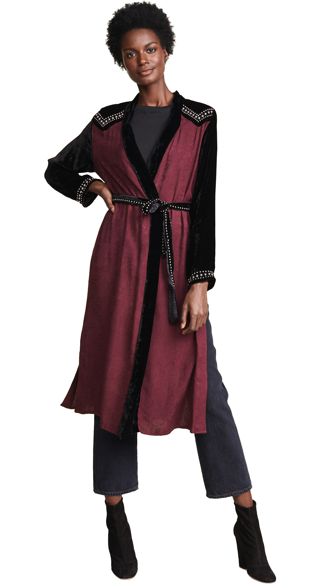 ONE by One By Emmy Lou Studded Kimono In Burgundy/Black