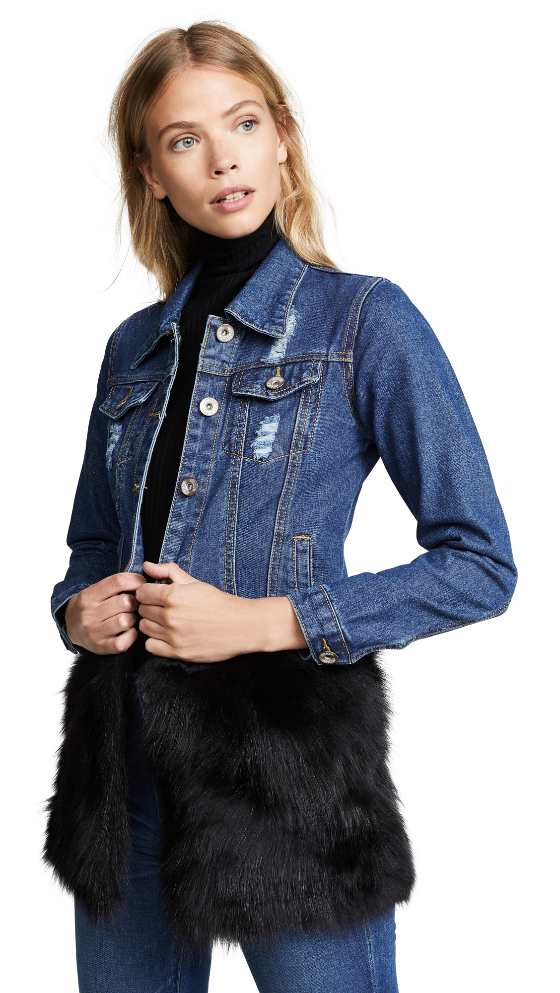 ONE by Dark Denim Trucker Jacket with Fox Fur