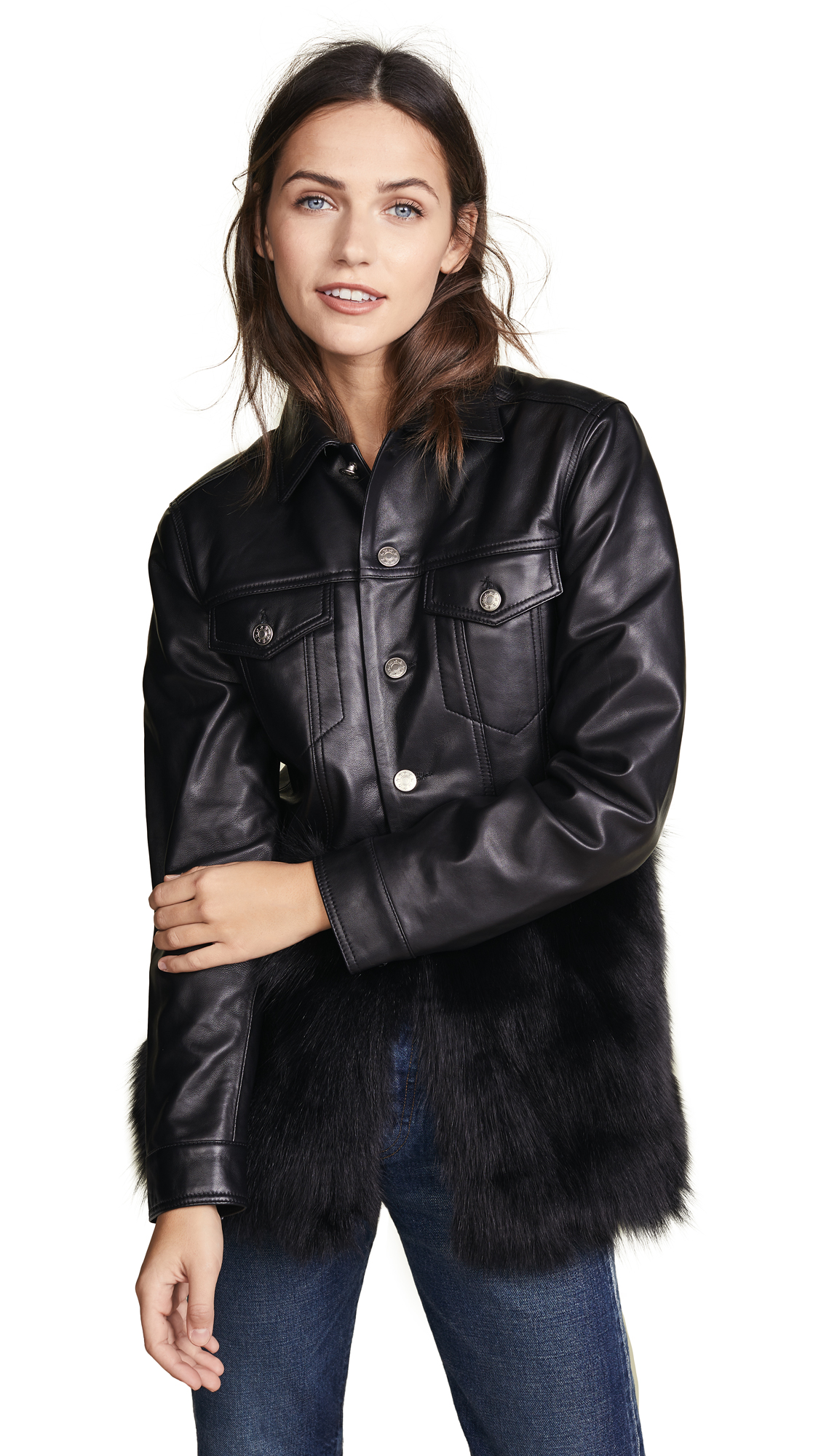 ONE by Leather Jean Jacket with Black Fox Fur In Black