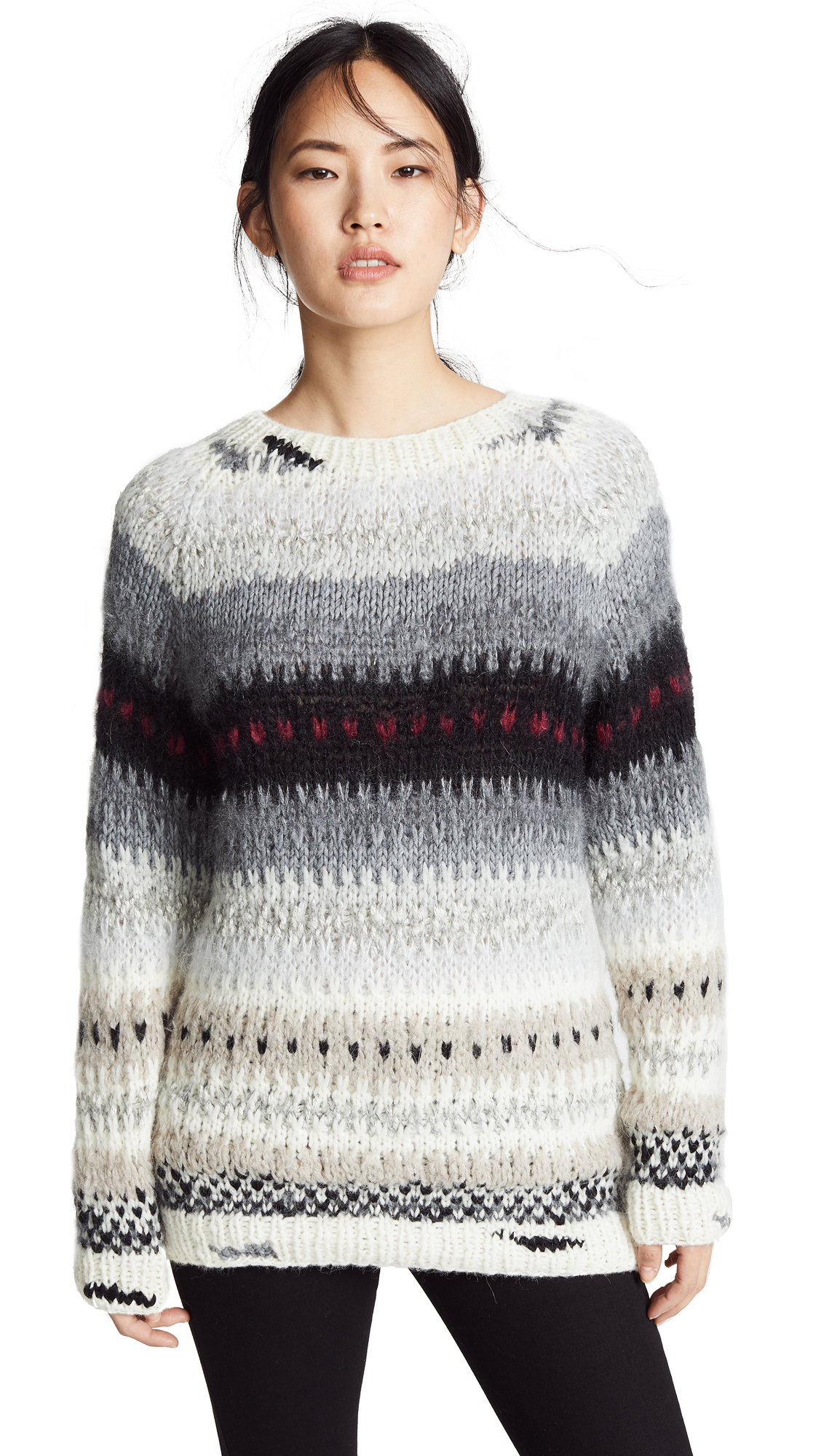 ONE ON ONE Safety Sweater in Ecru/Black