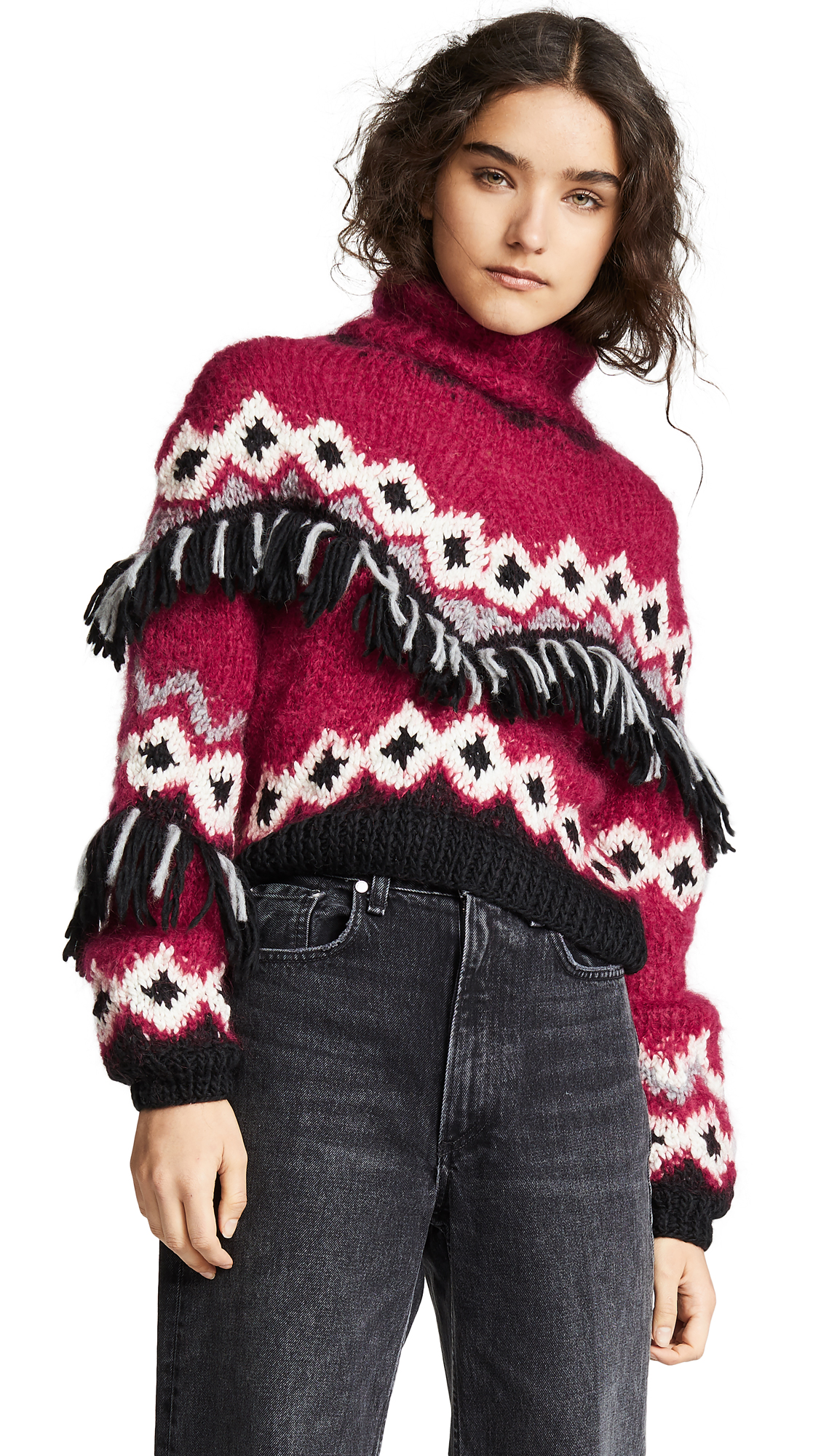 ONE ON ONE Fringe Sweater in Red Combo