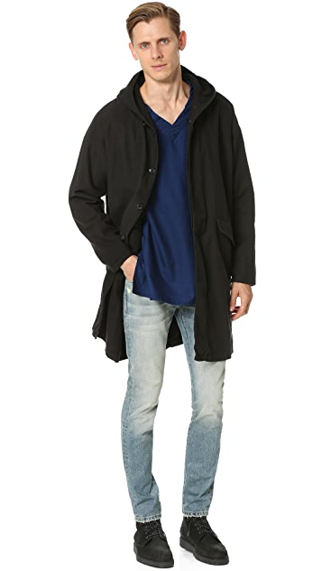 Ones Stroke Hooded Flannel Coat