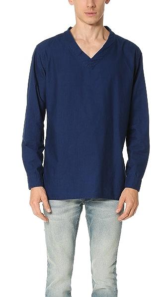 Ones Stroke Indigo Flannel V Neck Shirt