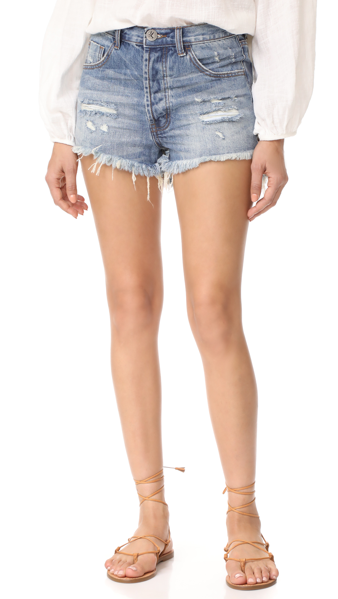One Teaspoon Outlaws Shorts In Johnnie Blue