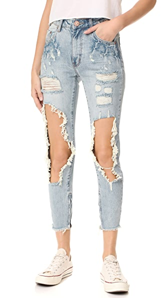 One Teaspoon High Waist Freebird Jeans - Blue Hart