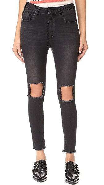 One Teaspoon High Waist Freebird II Jeans - Black Punk