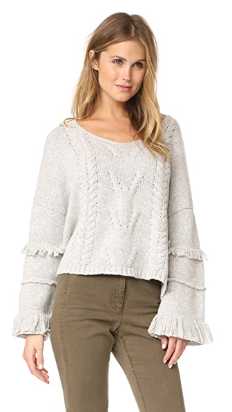 One Teaspoon Jethro Fringed Knit Sweater In Grey Marle