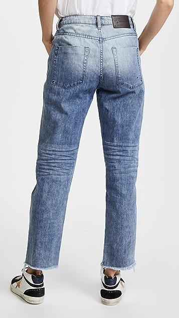 One Teaspoon Truckers Mid Rise Straight Leg Jeans