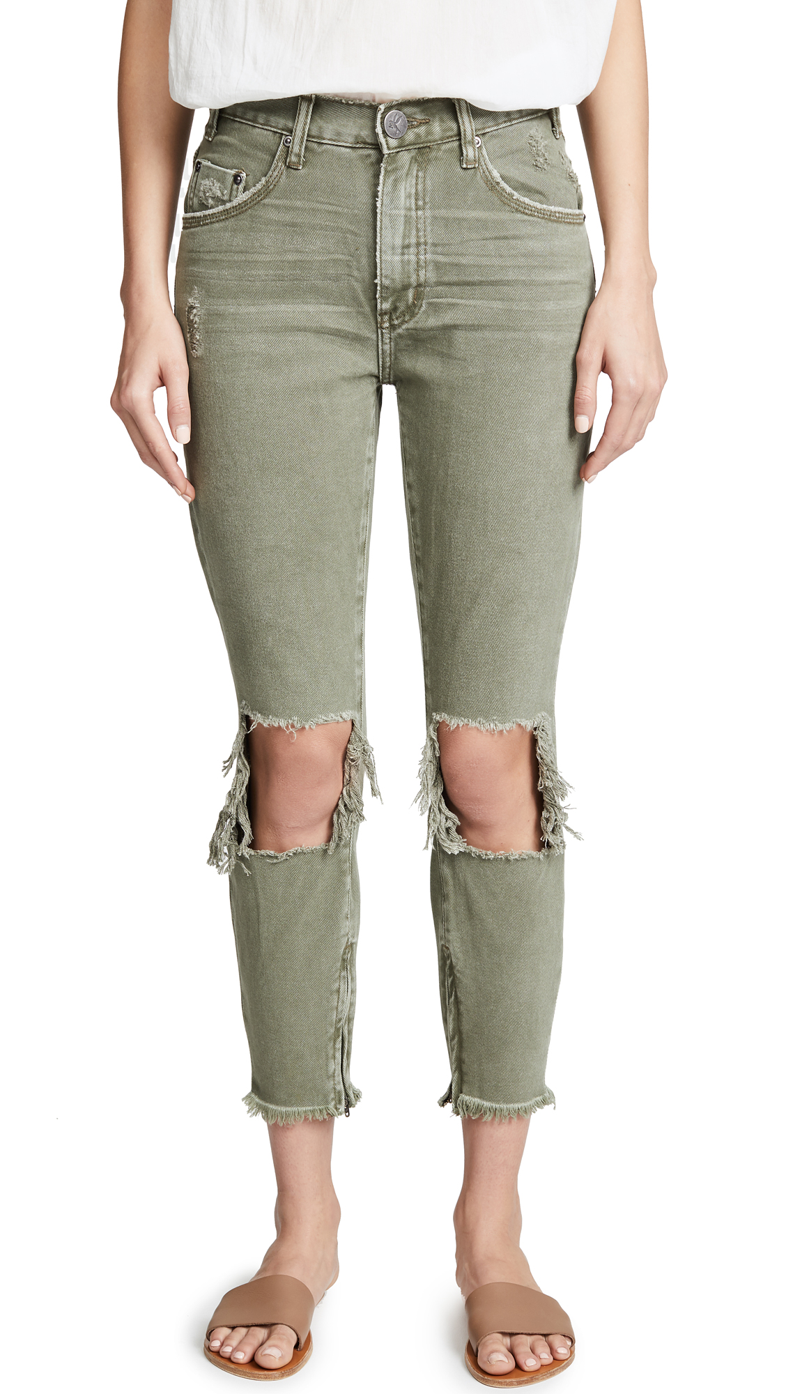 One Teaspoon High Waist Freebird Jeans In Super Khaki