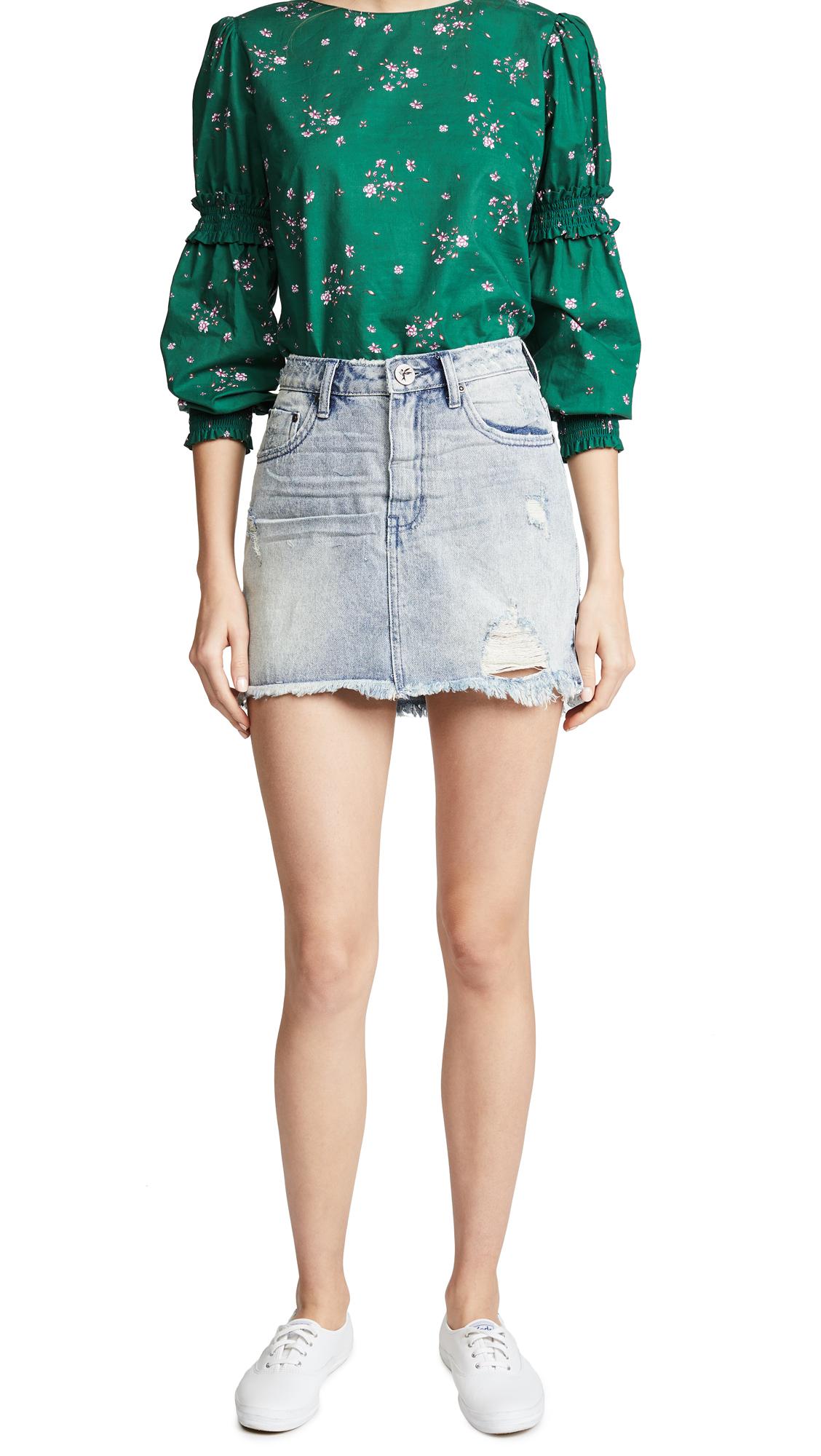 One Teaspoon High Waist 2020 Miniskirt In Blue Storm