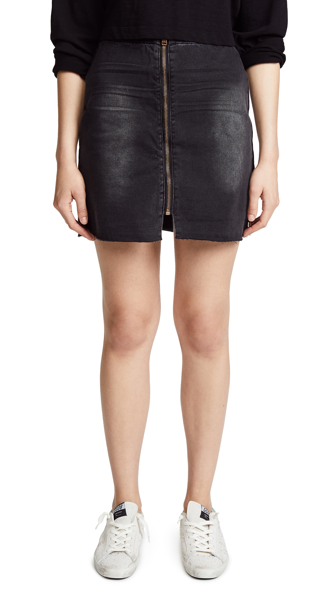 One Teaspoon Viven High Rise A-Line Skirt In Black Anchor