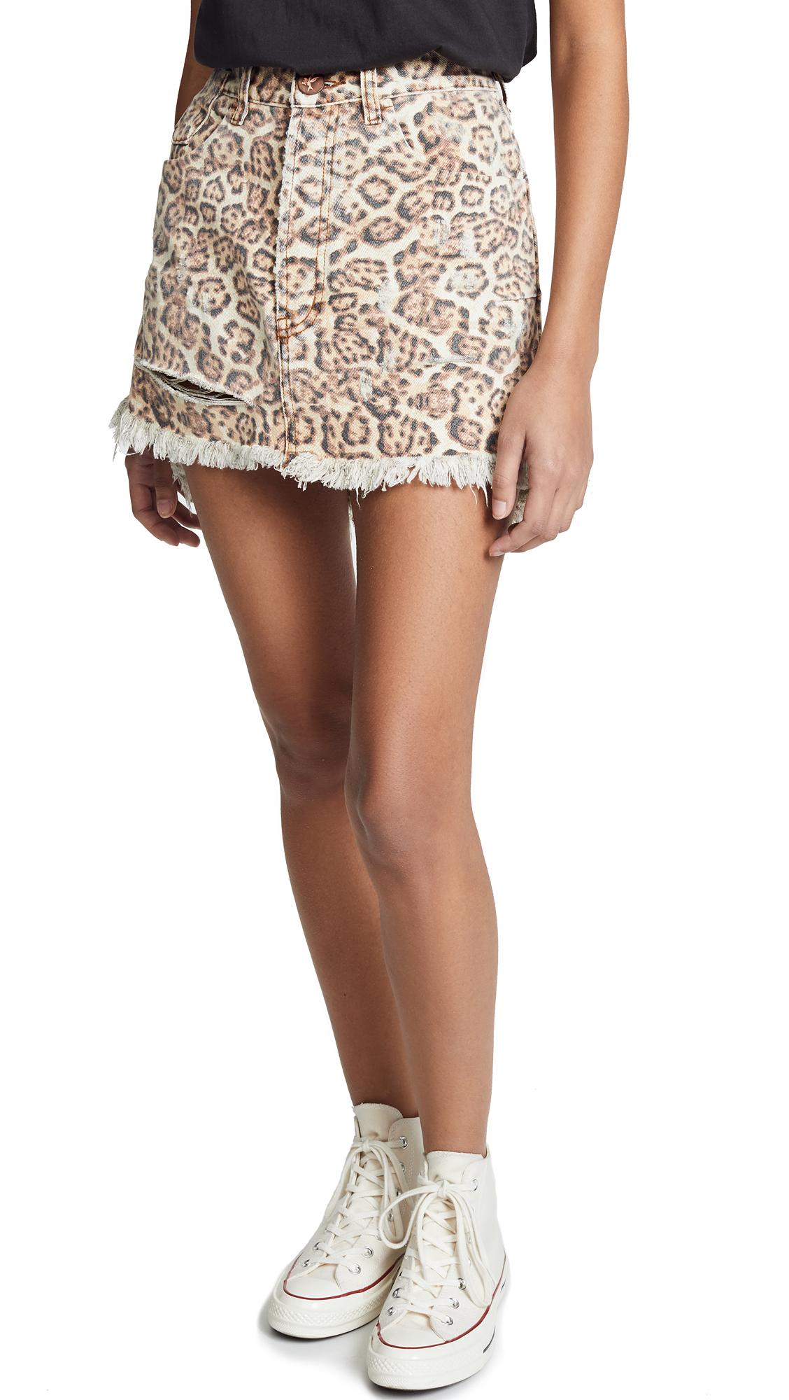 ONE TEASPOON Vanguard Mini Skirt in Leopard